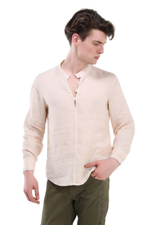 Washed Henley Linen Shirt - Stone - Ron Tomson