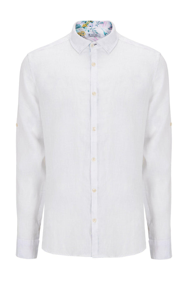 WASHED WHITE LINEN SHIRT - Ron Tomson