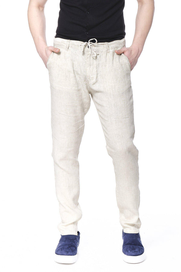 Weekend Leisure Linen Pants - Stone - Ron Tomson