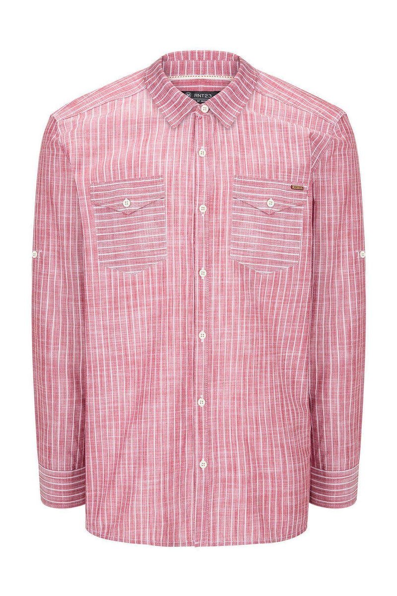 Western Striped Cotton Shirt - RED - Ron Tomson ?id=14469010653269