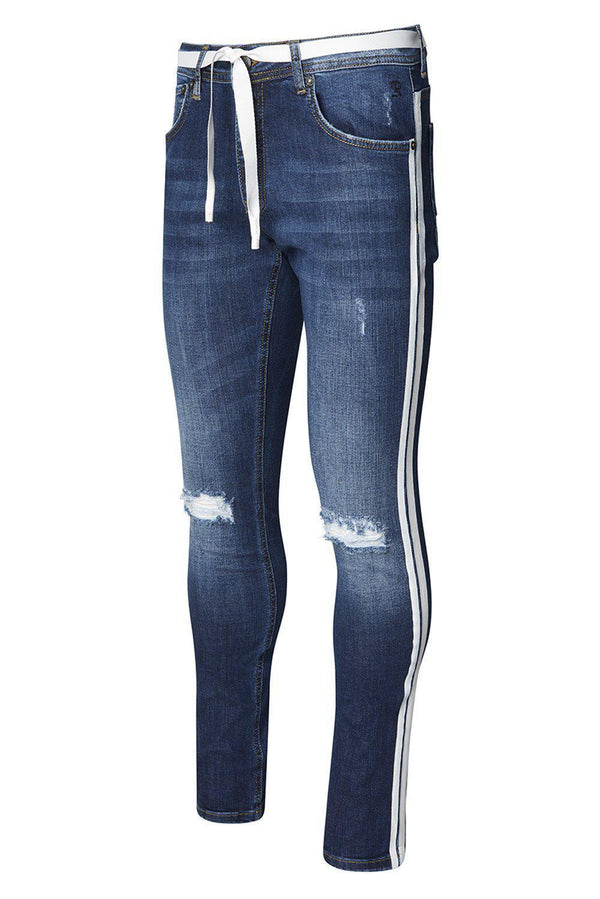 White Side Stripe Slim Fit Jeans - Navy White - Ron Tomson