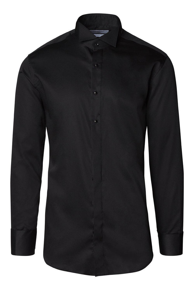 WING CLASSICAL TOP 3 FRONT STUD TUXEDO SHIRT - Black - Ron Tomson