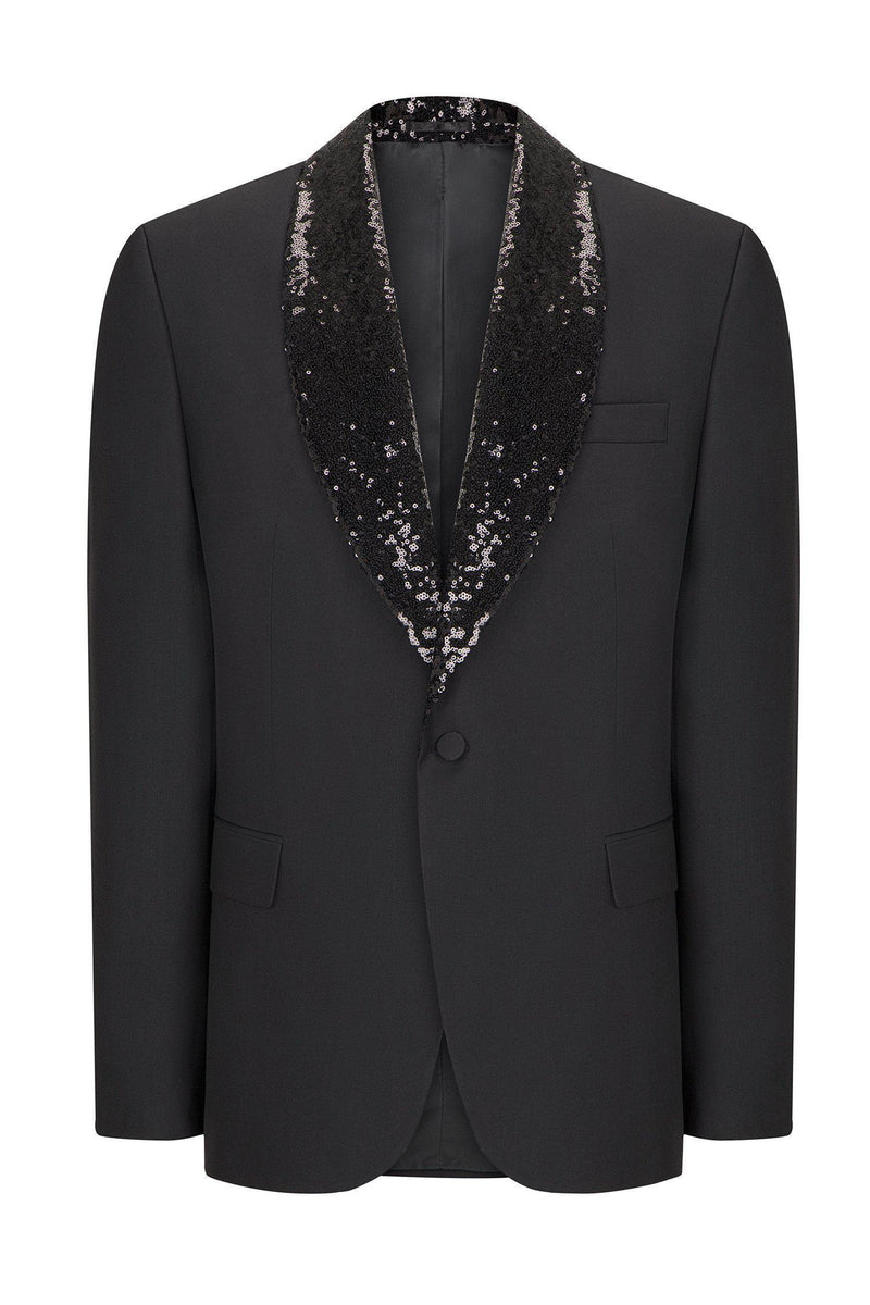 WINSTON SEQUIN SHAWL LAPEL TUXEDO - BLACK - Ron Tomson