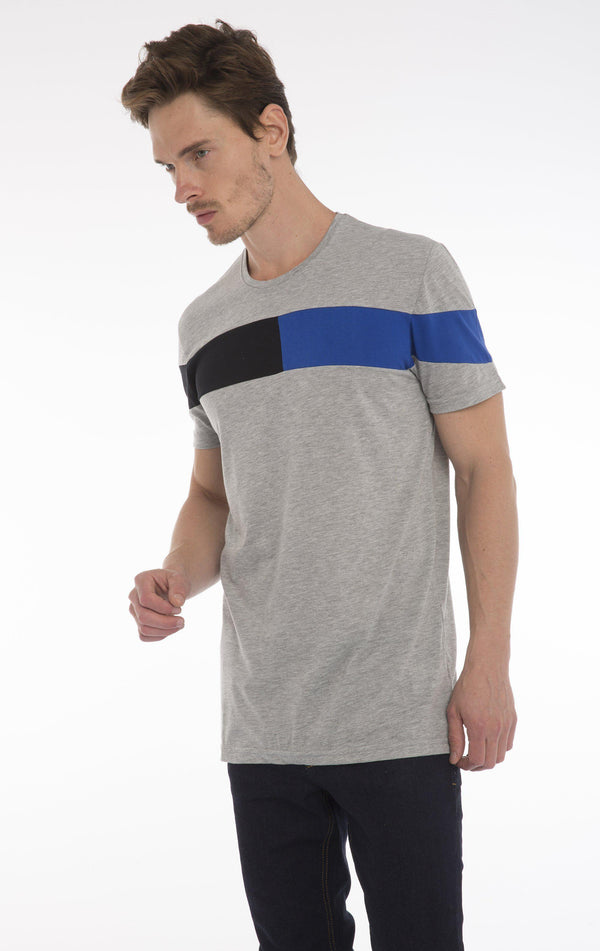 WORLD TOUR T-SHIRT - LIGHT GREY  MELANGE COBALT BLUE - Ron Tomson