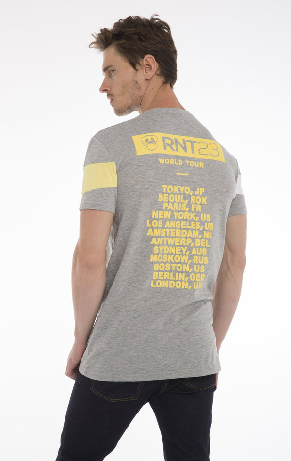 World Tour T-Shirt - Light Grey Melange Yellow - Ron Tomson