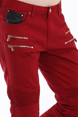 Zip Moto Tapered Jeans - Red copper - Ron Tomson