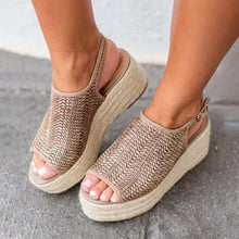 Load image into Gallery viewer, Women Hemp Sandals Sewing Female Beach Shoes Wedge Heels Peep Toe Platform Shoes Hasp Sandals