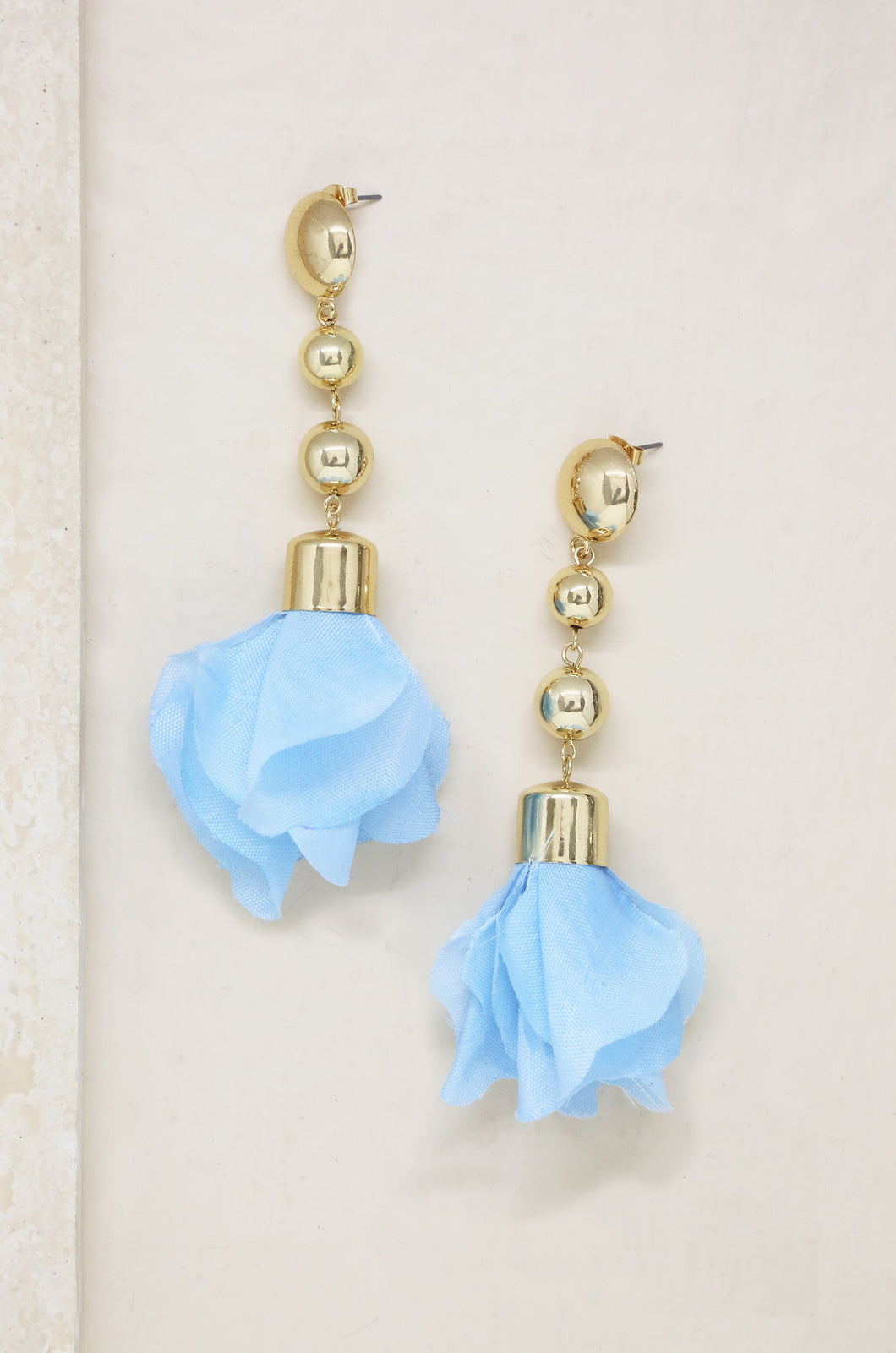 Flower Petal Drop Earrings in Blue and Gold