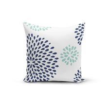 Load image into Gallery viewer, Blue Teal Flowers Pillow Cover