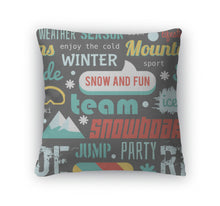 Load image into Gallery viewer, Throw Pillow, Pattern With Snowboarding Stuff And Words Flat Design