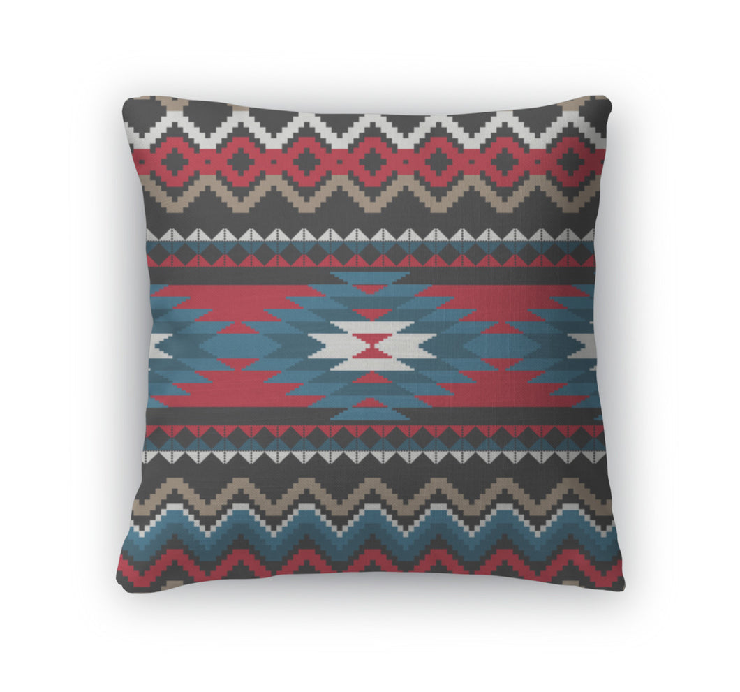 Throw Pillow, Folk Ornamental Pattern