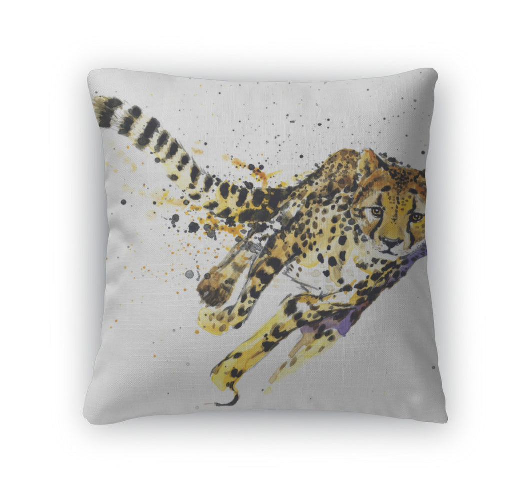 Throw Pillow, Cheetah Tshirt Graphics African Animals Cheetah Illustration With Splash