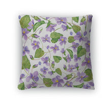 Load image into Gallery viewer, Throw Pillow, Spring Flowers Forest Violet And Young Green Grass