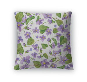 Throw Pillow, Spring Flowers Forest Violet And Young Green Grass