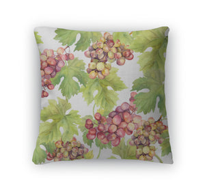 Throw Pillow, Pattern With Grape Vine And Leaves On White Watercolor Art