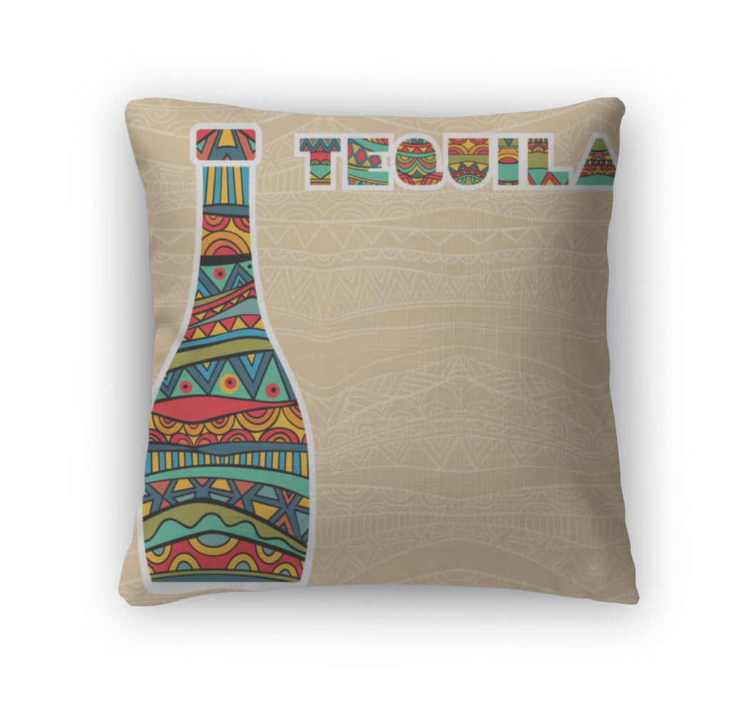 Throw Pillow, Mexican With Fancy Bottles Of Tequila