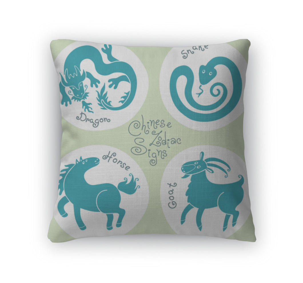 Throw Pillow, Set Signs Of The Chinese Zodiac