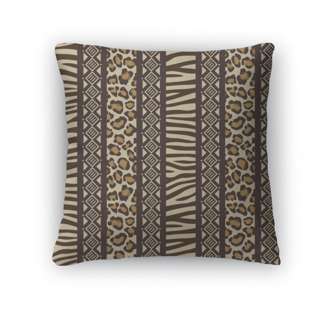 Throw Pillow, African Style With Wild Animal Skin Patterns