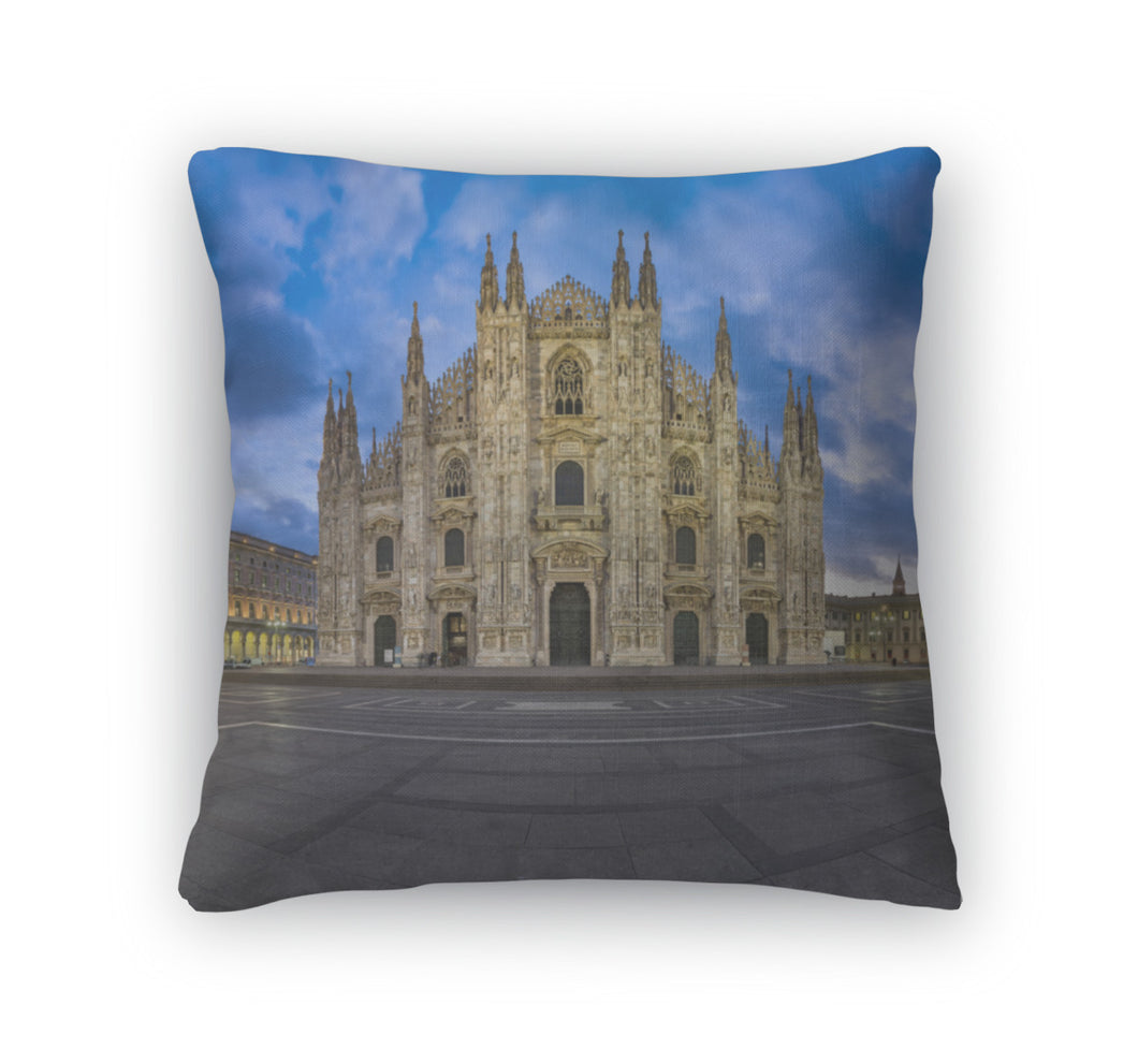 Throw Pillow, Duomo Di Milano Milan Cathedral And Piazza Del Duomo In The Mo