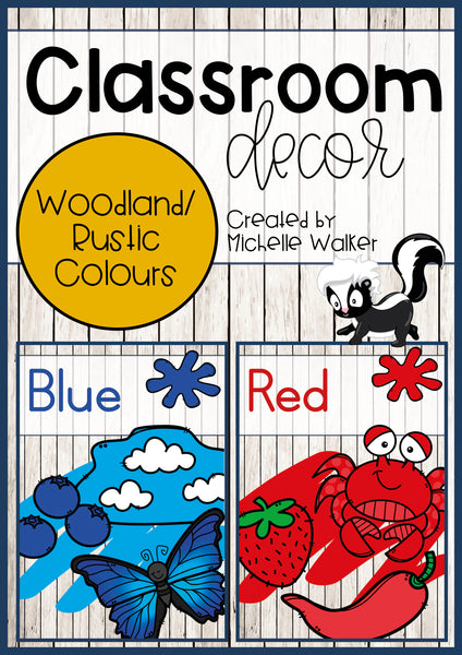 Classroom Decor: Woodland/Rustic-themed Colour posters