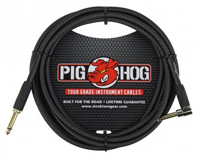 "Pig Hog ""Black Woven"" Instrument Cable, 20ft Right Angle"