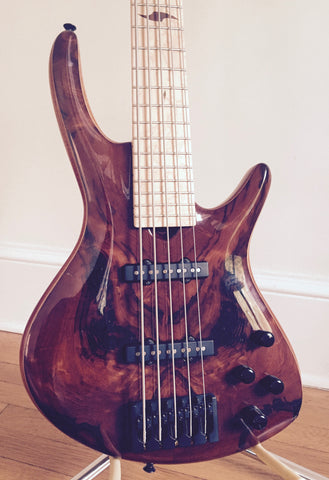 Roscoe Century Custom Redwood top 5-String Fretted Bass: Pre-Owned