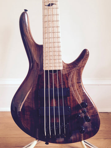 Roscoe Century Custom Walnut top 5-String Fretted Bass: Pre-Owned