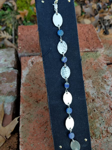Sterling Silver chain bracelet, with Lapis Lazuli