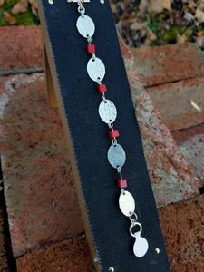 Sterling Silver and Coral Chain Bracelet
