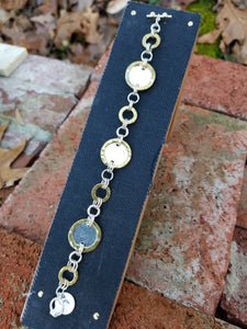 Silver and Brass Circles Chain Bracelet