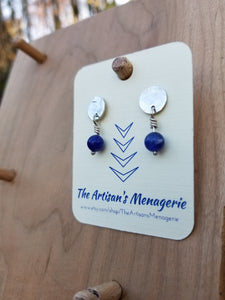 Sterling Silver post earrings with Sodalite