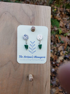 Sterling Silver post earrings with Adventurine