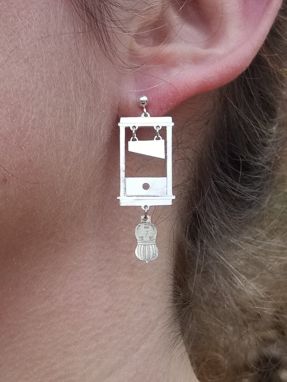 Guillotine Earrings. Sterling Silver.