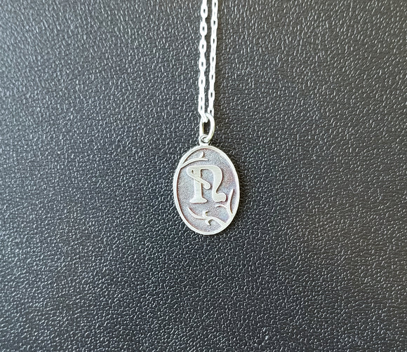 Initial Necklace - Art Nouveau in Sterling Silver