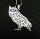 Owl Mandala Pendant - Sterling Silver and Gemstones