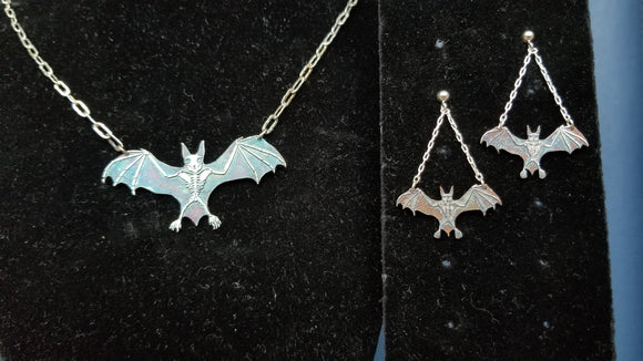 Bat!!!  Sterling Silver Bat Skeleton Earring and Necklace Set