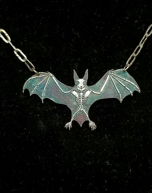 BAT!!!  Large Bat Skeleton Necklace - Sterling Silver