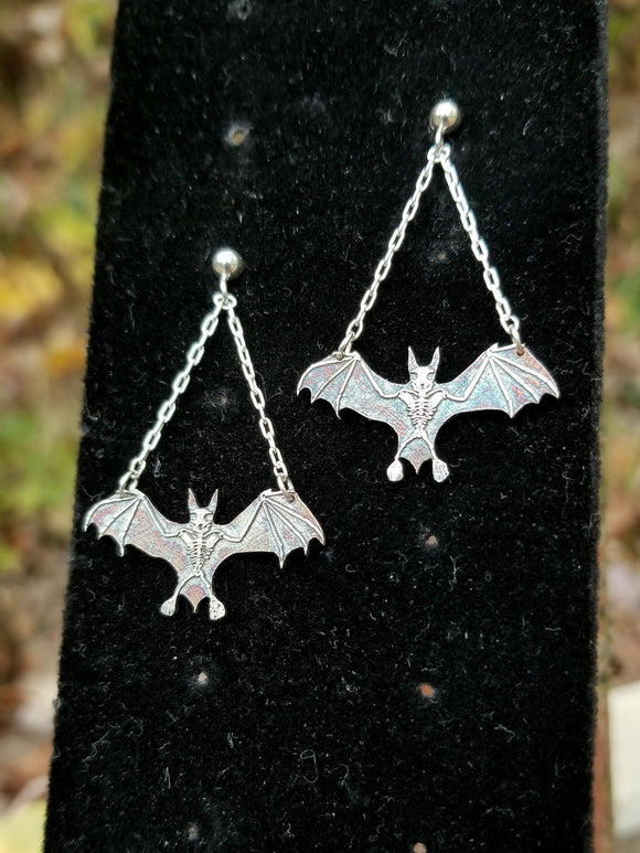 BATS!!  Sterling Silver Bat Skeleton Dangle Earrings