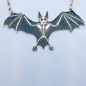 Large Bat Necklace with Gemstone Eyes