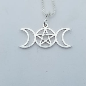 Triple Moon Pentacle Necklace, Sterling Silver
