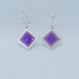 Shiny Shapes.  Sterling Silver Dangle Earrings in Purple Enamel