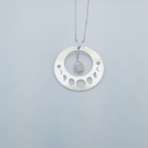 Moon Phase Pendant with Rainbow Moonstone