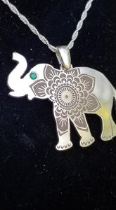 Elephant - Sterling Silver with Gemstone -Mandala Etching