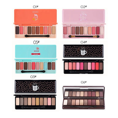 10 Color Nude Shining Eyeshadow Palette Glamorous Waterproof Not Blooming Cherry Eye Shadow Shimmer Glitter Makeup