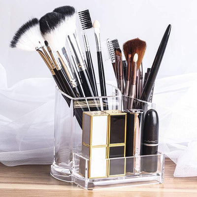 Clear Acrylic Transparent Cosmetic Makeup Brush Holder Stand Organizer Lip Stand For Daily Use Women Home