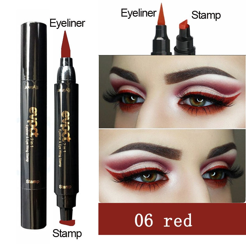 Double Headed Seal Eyeliner Stamp Pencils Colorful Triangle Eyeliner 2 in 1 Waterproof Eyes Make Kit with Eyeliner Stamp