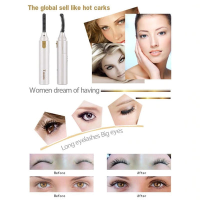 Elecool Electric Eyelash Curler Portable Pen Heated Long Lasting Eye lash Curler Useful Makeup Tool