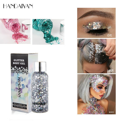 Eyeshadow Glitter Gel Cream Nail Hair Body Face Glitter Gel Art Flash Heart Loose Sequins Cream Festival Party Decoration