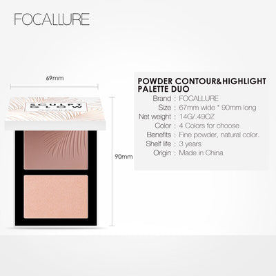 FOCALLURE Double Head 3D Bronzer Highlighter For Face Makeup Stick Cream Texture Contour Makeup Highlighter Bronzer