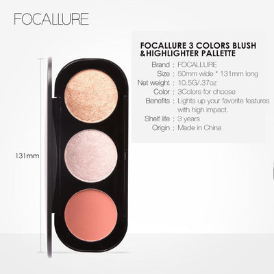 FOCALLURE New Arrivel 3 Colors Blush&Highlighter Palette Face Matte Highlighter Powder Illuminated Blush Powder